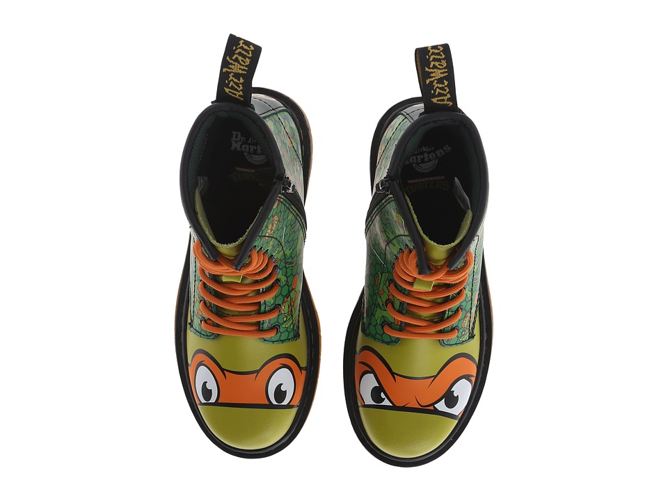 Dr. Martens Kid's Collection - Ninja Turtles Mikey (Little Kid/Big Kid) (Green Leather) Kid's Shoes