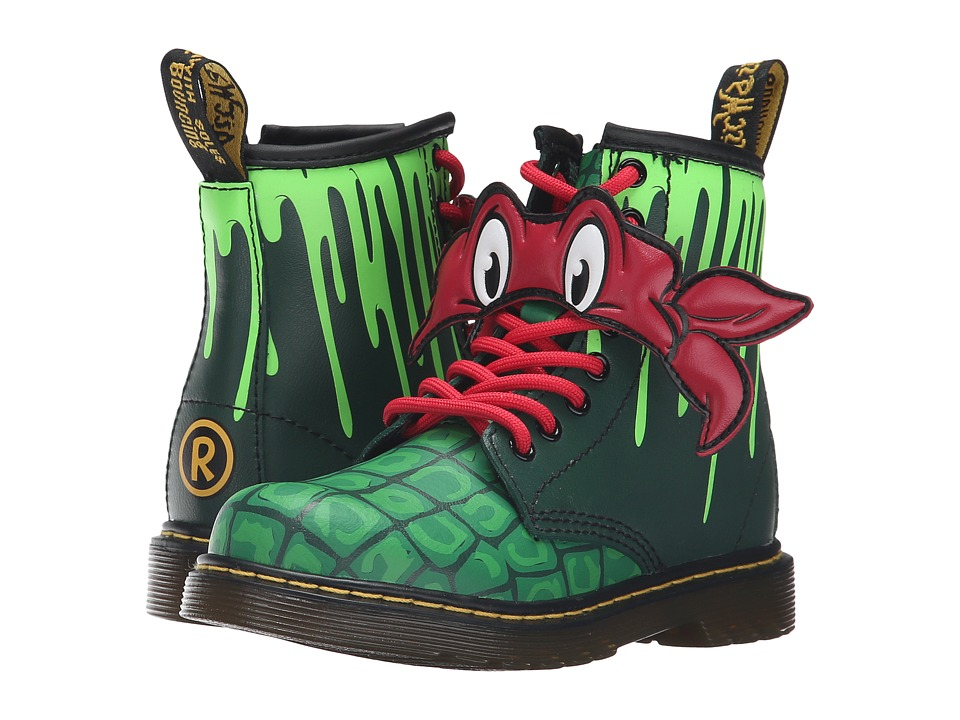 Dr. Martens Kid's Collection - Ninja Turtles Raph (Little Kid/Big Kid) (Green Leather) Kid's Shoes