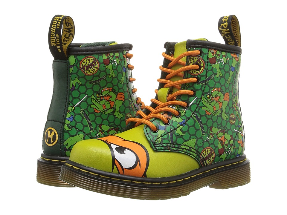 Dr. Martens Kid's Collection - Ninja Turtles Mikey (Toddler) (Green Leather) Kid's Shoes