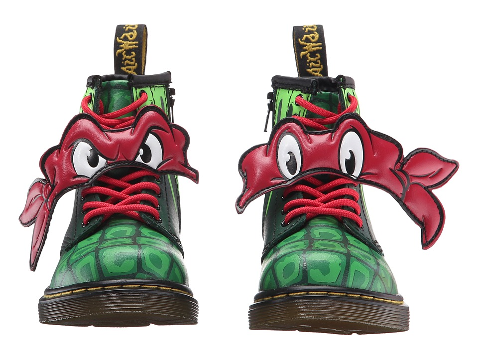 Dr. Martens Kid's Collection - Ninja Turtles Raph (Toddler) (Green Leather) Kid's Shoes