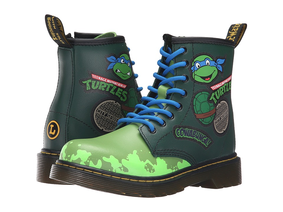 Dr. Martens Kid's Collection - Ninja Turtles Leo (Little Kid/Big Kid) (Green Leather) Kid's Shoes