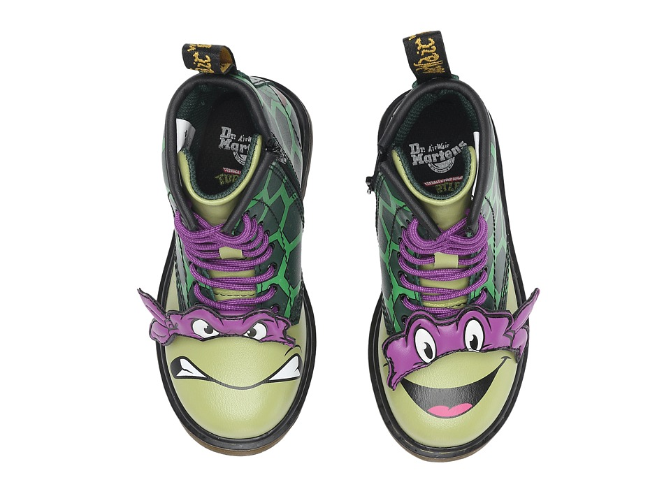 Dr. Martens Kid's Collection - Ninja Turtles Donnie (Toddler) (Green Leather) Kid's Shoes