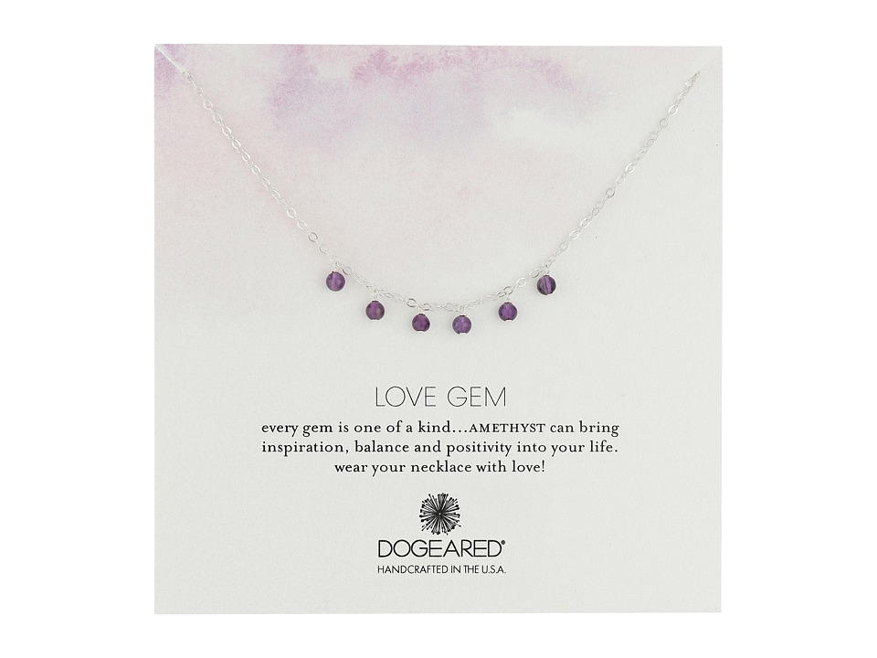 Dogeared - Love Gem Dangling Amethyst Necklace (Sterling Silver) Necklace