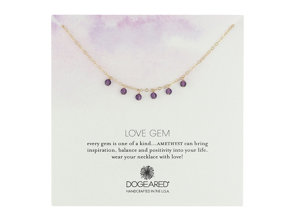 Dogeared - Love Gem Dangling Amethyst Necklace (Gold Dipped) Necklace