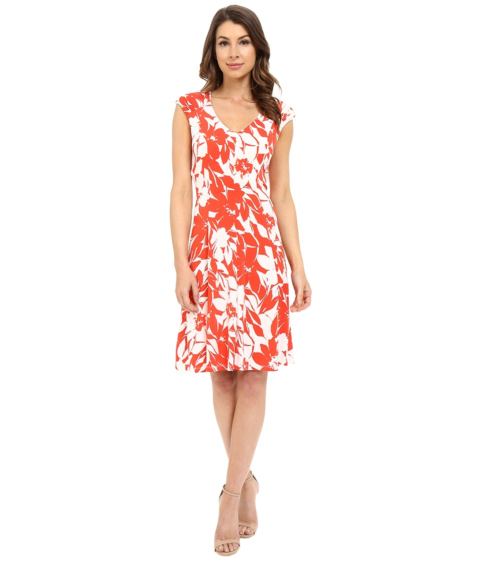 London Times - Monotone Petals Fit and Flare (White/Red) Women's Dress