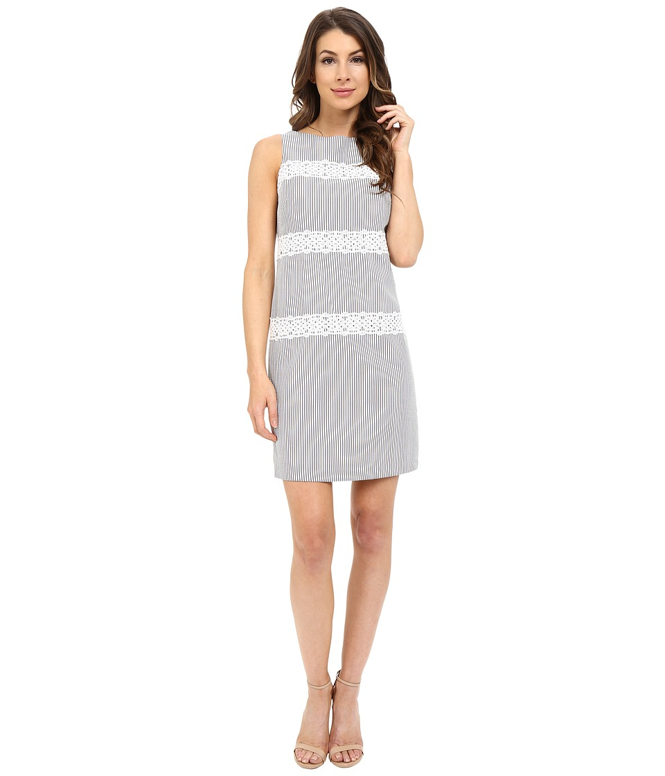 London Times - Seersucker Shift Dress (Grey/White) Women's Dress