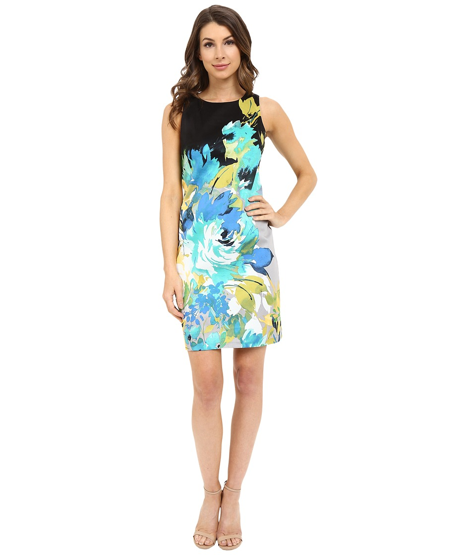 London Times - Bloom Placement Sleeveless Shift Dress (Black/Aqua) Women's Dress