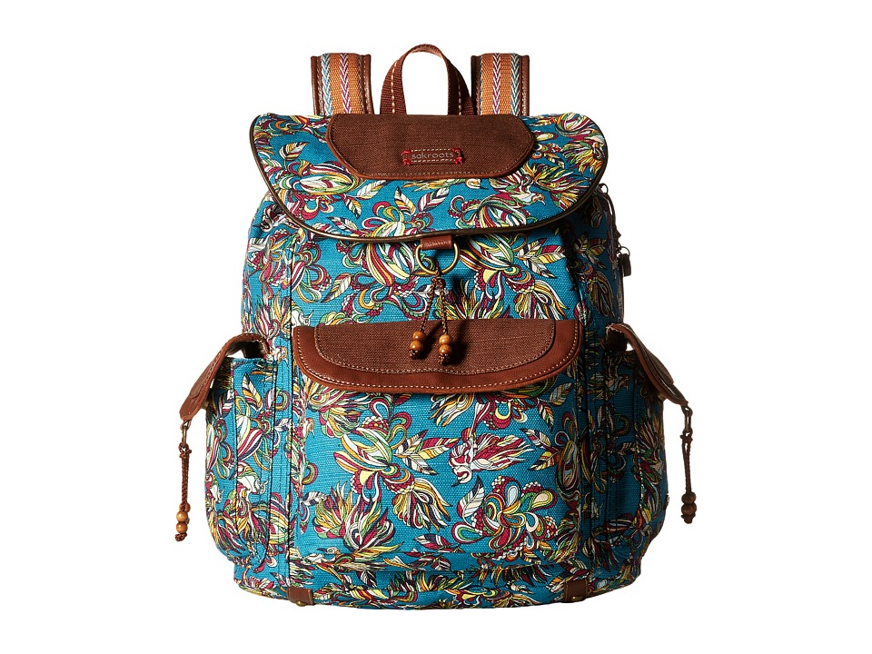 Sakroots - Sakroots Artist Circle Flap Backpack (Teal Treehouse) Backpack Bags