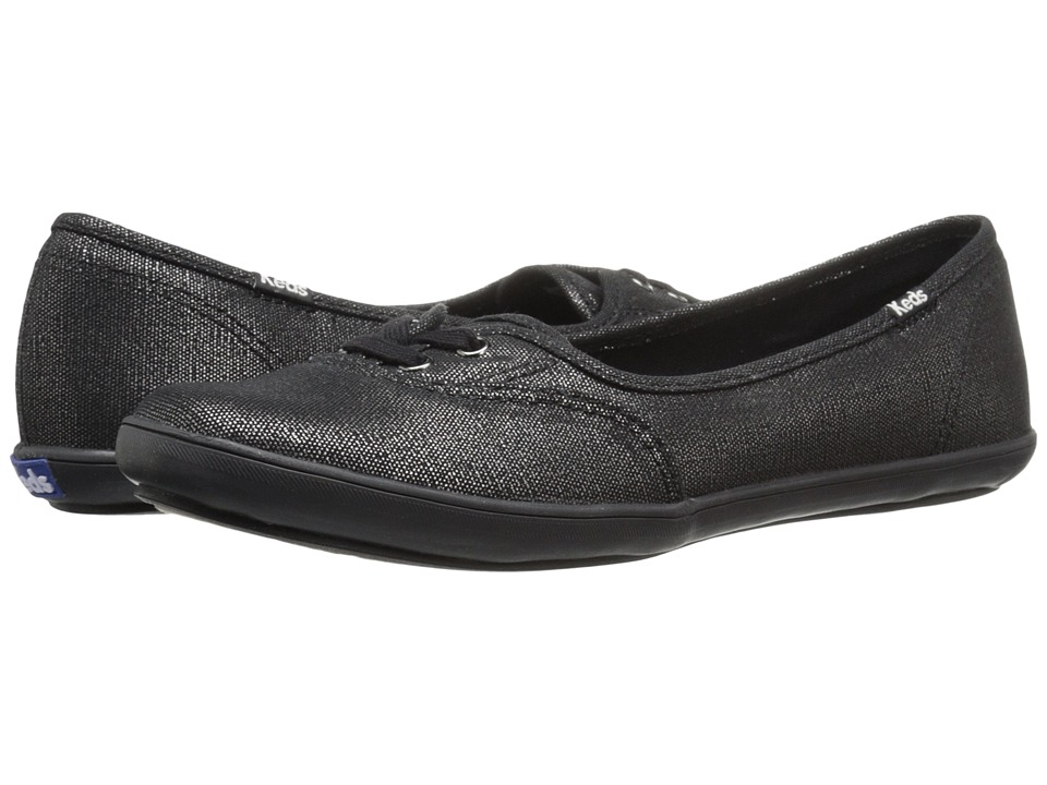 Keds - Teacup Metallic Canvas (Black/Black) Women's Slip on Shoes
