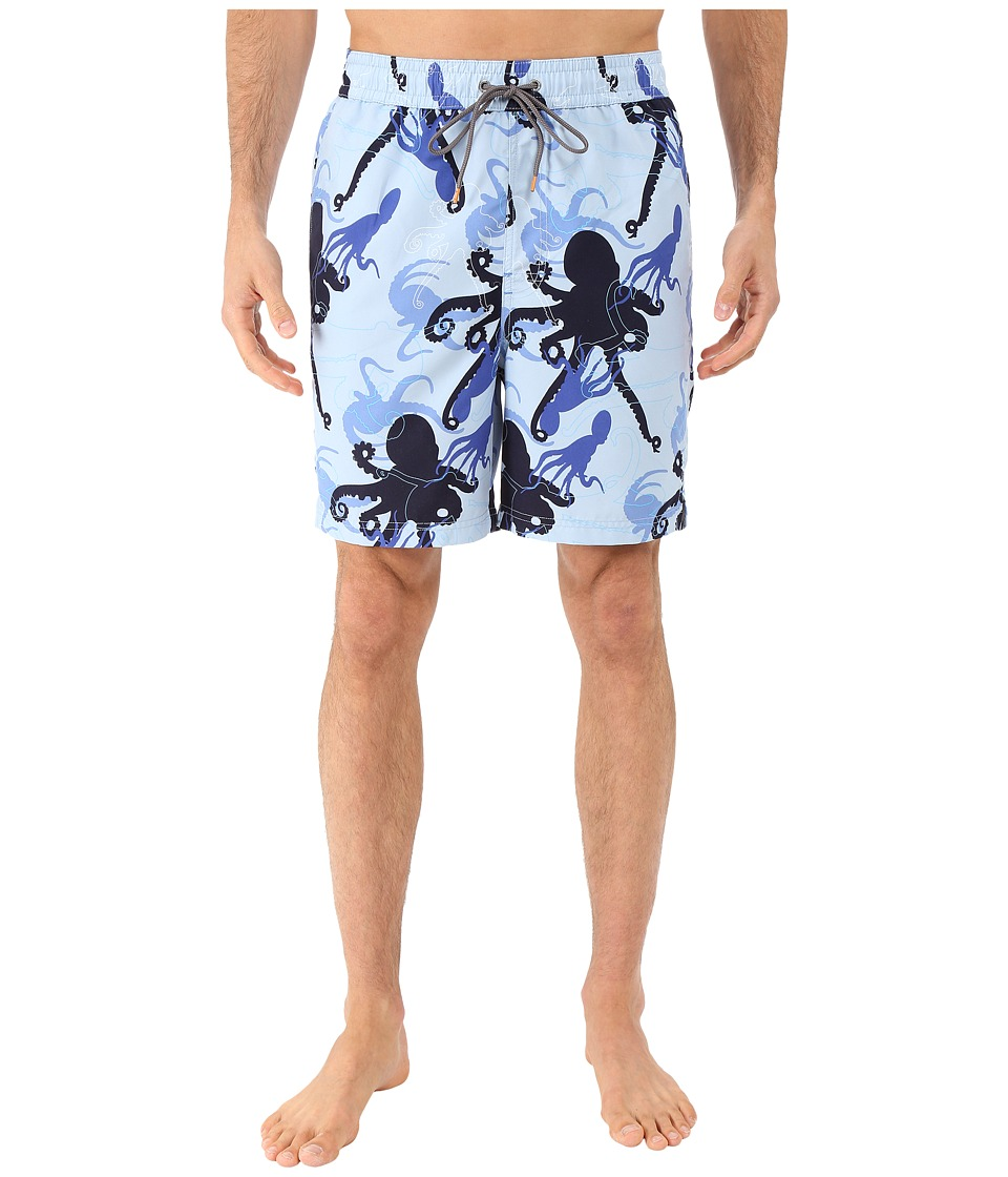 Thomas Dean & Co. - Octopus Print Board Short (Light Blue) Men's Swimwear