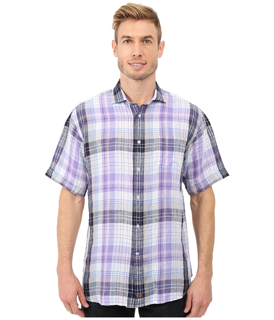 Thomas Dean & Co. - Short Sleeve Woven Linen Plaid (Purple) Men's Clothing