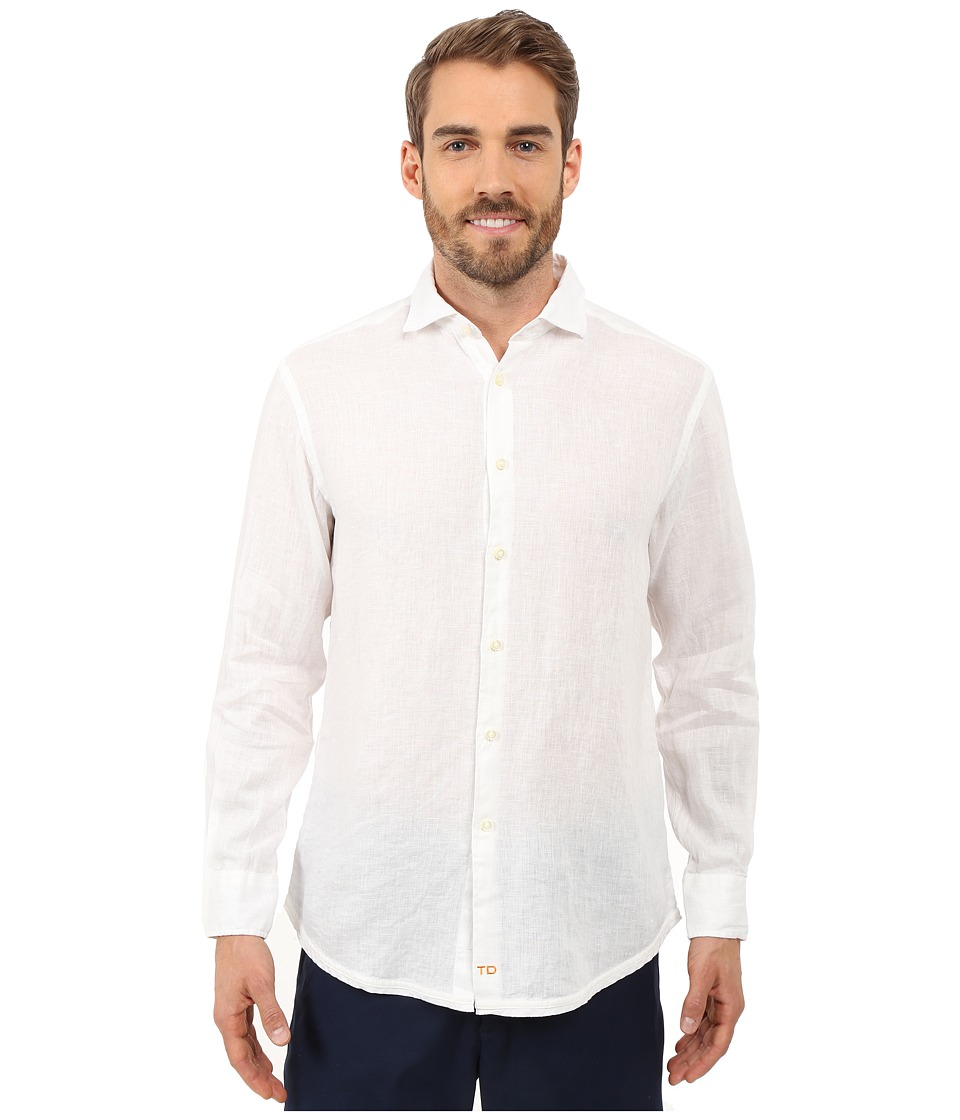 Thomas Dean & Co. - Long Sleeve Woven Linen Regular Fitted (White) Men's Long Sleeve Button Up