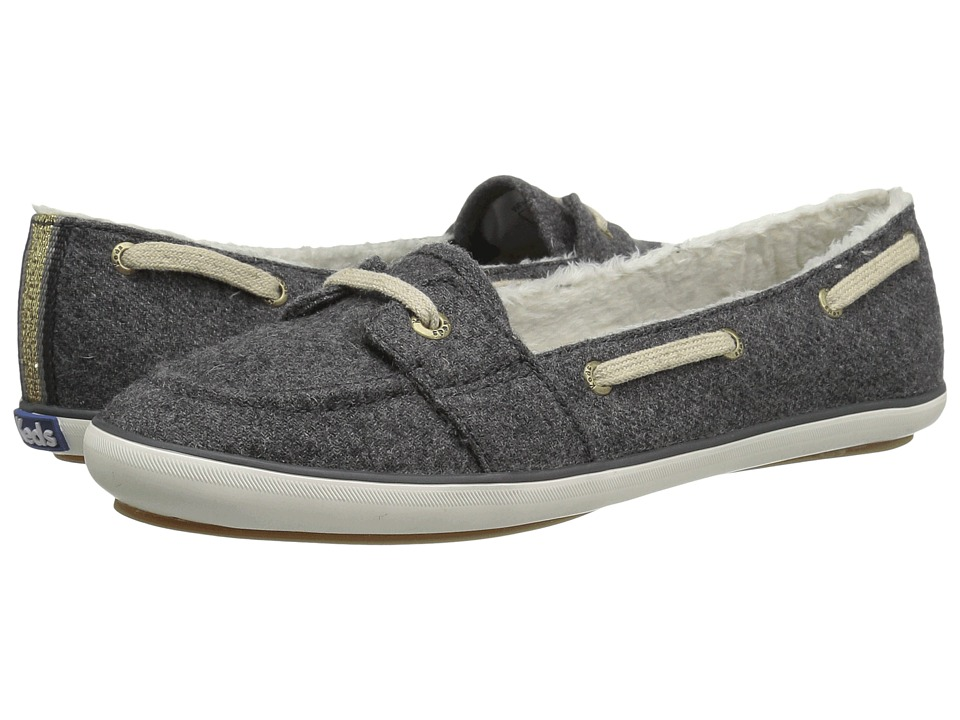 Keds Teacup Boat Wool Shearling Charcoal Womens Slip on Shoes