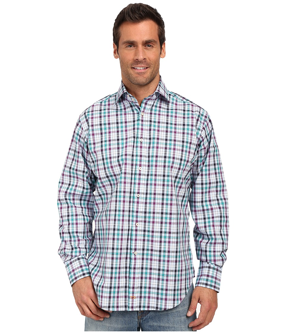 Thomas Dean & Co. - Purple Grid Check Button Down Sport Shirt (Purple) Men's Long Sleeve Button Up