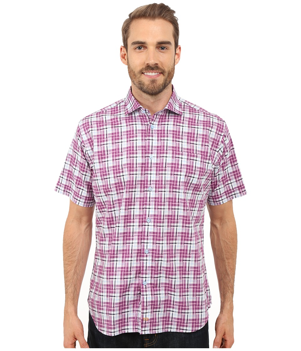 Thomas Dean & Co. - Short Sleeve Woven Twill-Finish Plaid (Purple) Men's Short Sleeve Button Up