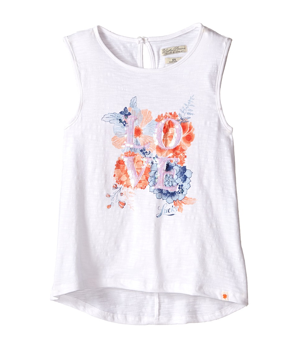Lucky Brand Kids - Love Floral Tank Top (Little Kids) (Bright White) Girl's Sleeveless