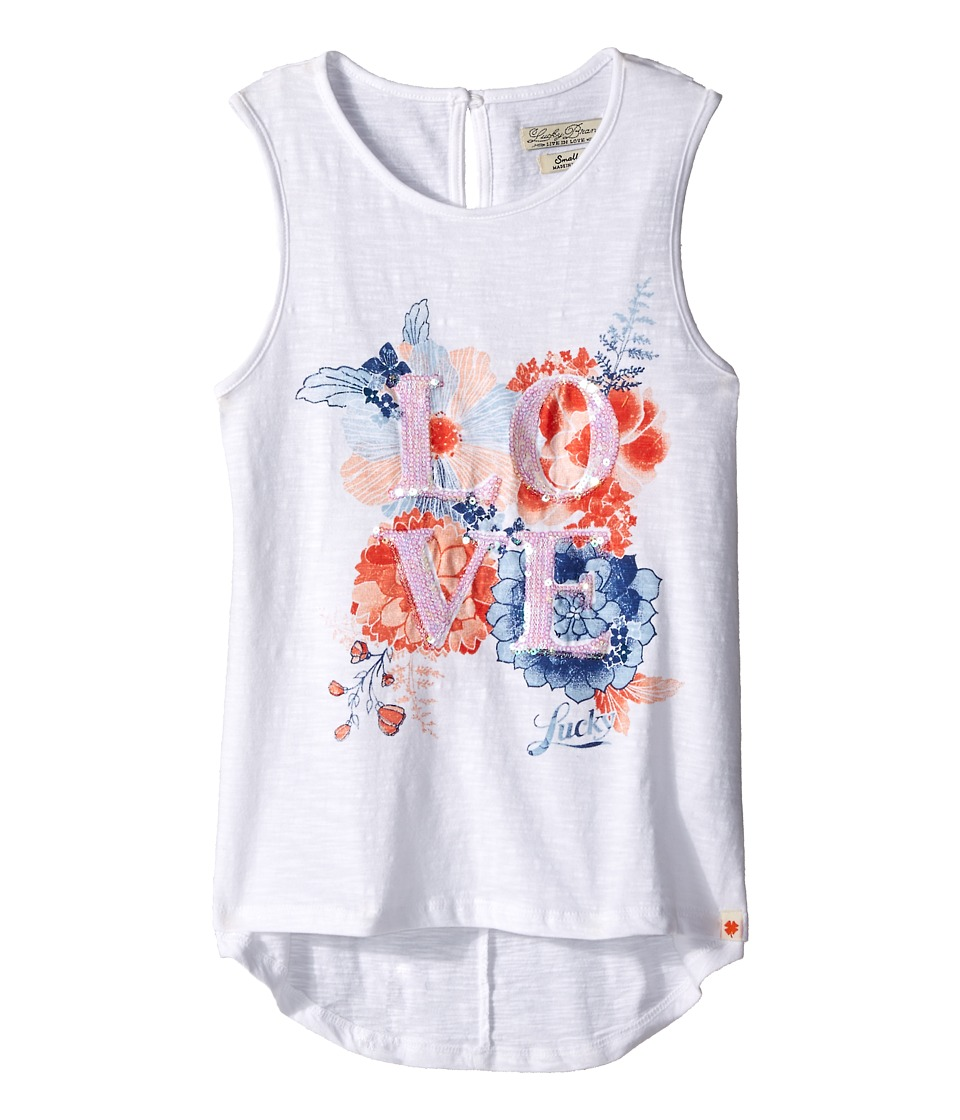 Lucky Brand Kids - Love Floral Tank Top (Big Kids) (Bright White) Girl's Sleeveless