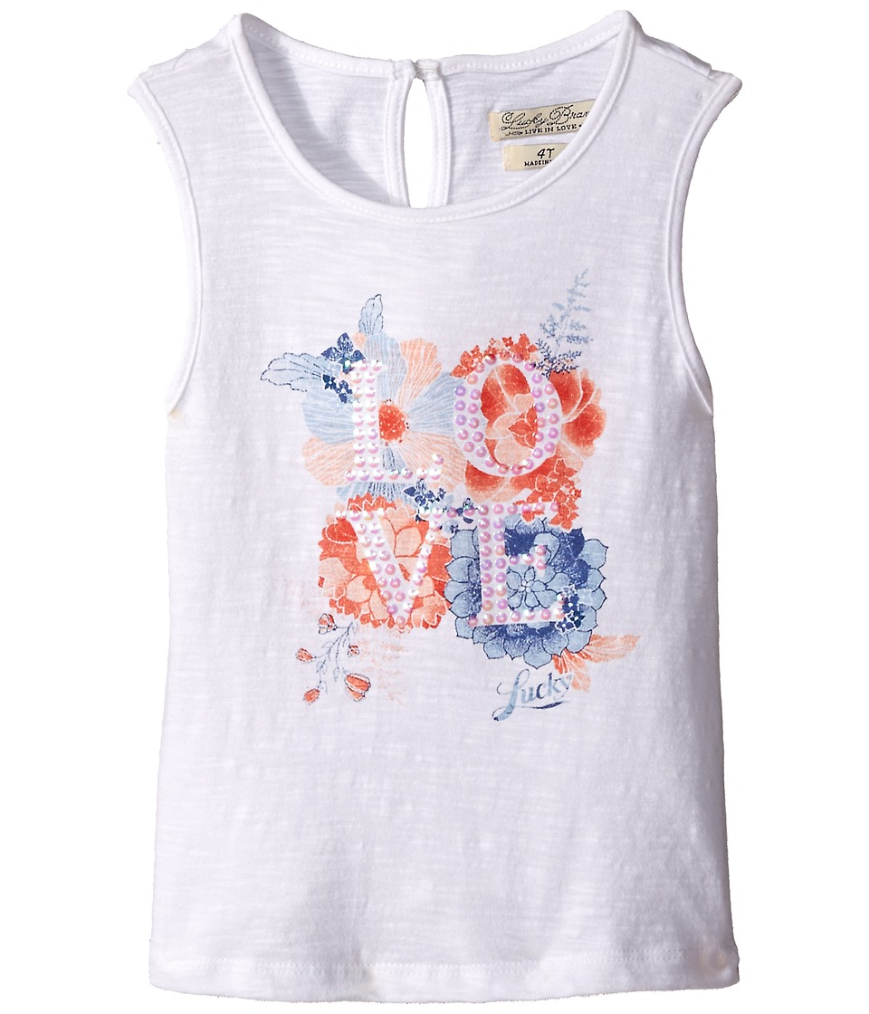 Lucky Brand Kids - Love Floral Tank Top (Toddler) (Bright White) Girl's Clothing