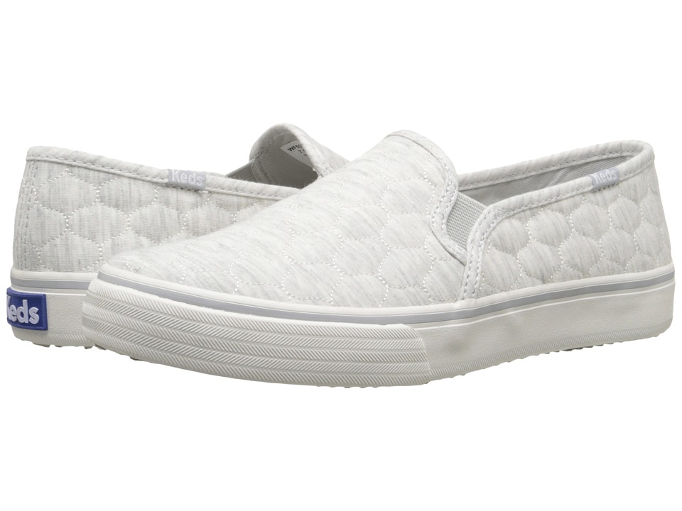 Keds - Double Decker Quilted Jersey (Light Gray) Women's Slip on Shoes