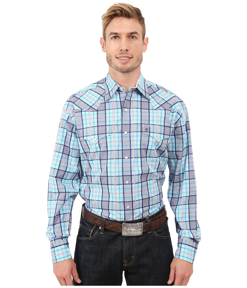 Stetson - Streetlights Long Sleeve Snap Front Shirt (Blue) Men's Long Sleeve Button Up