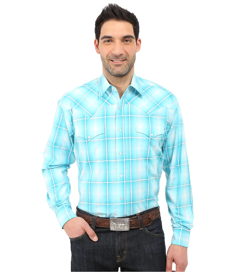 Stetson - Crystal Ombre Long Sleeve Snap Front Shirt (Blue) Men's Clothing
