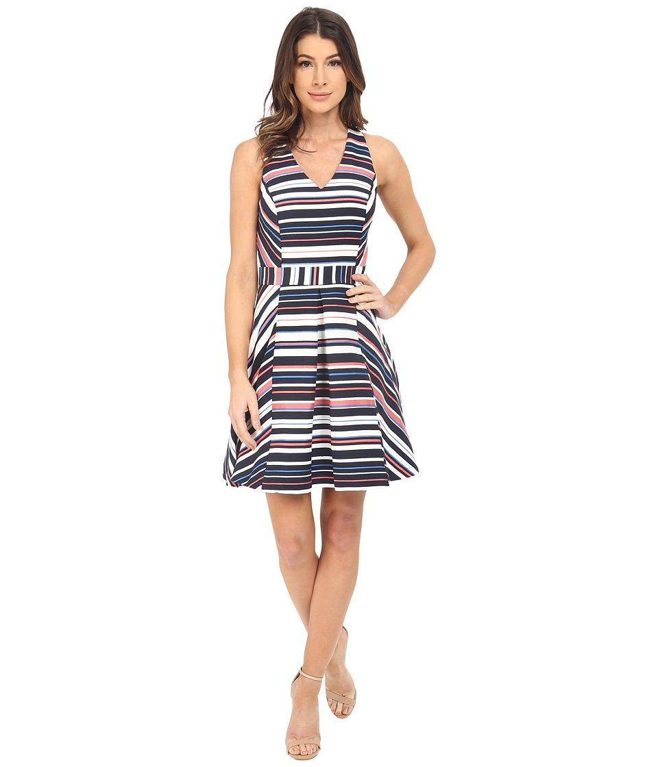 Adelyn Rae - Stripe Cross-Back Fit and Flare (White/Navy) Women's Dress