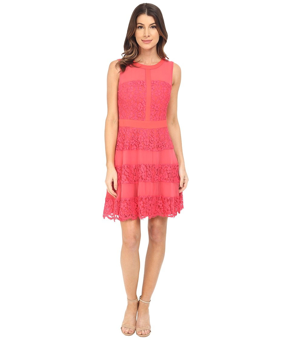 Adelyn Rae - Lace Fit and Flaire w/ Contrast Panel (Melon) Women's Dress