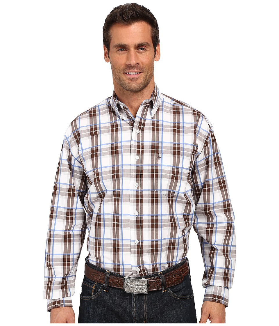 Stetson - Blue Springs Button Front One-Pocket Long Sleeve Shirt (Brown) Men's Long Sleeve Button Up