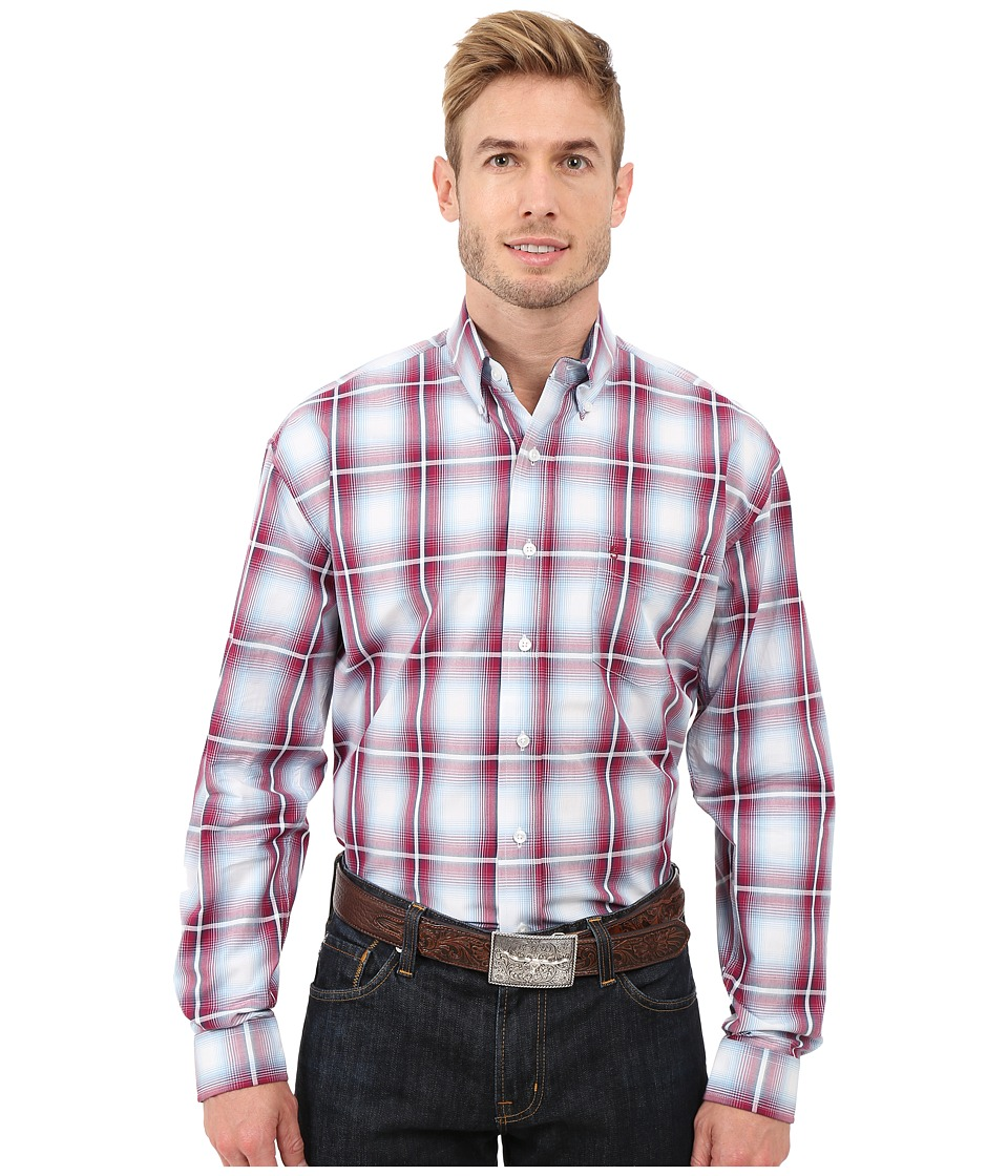 Stetson - Baseball Ombre Button Front One-Pocket Long Sleeve Shirt (Red) Men's Long Sleeve Button Up