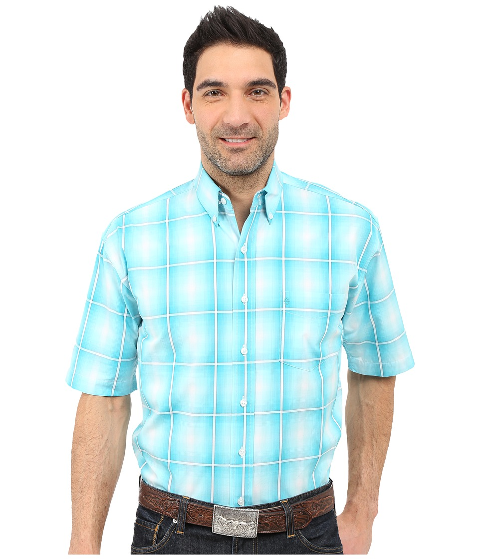 Stetson - Crystal Ombre Button Front Two-Pocket Short Sleeve Shirt (Blue) Men's Clothing