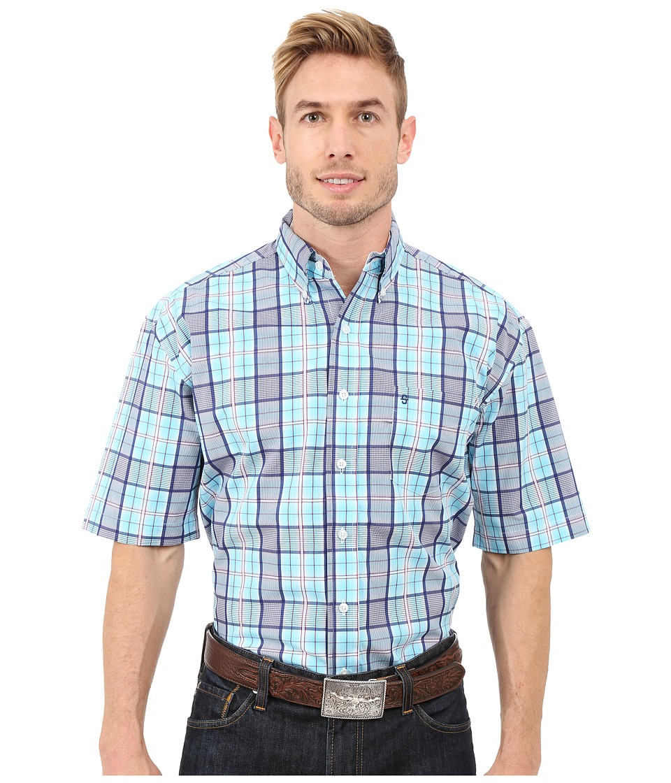 Stetson - Streetlights Button Front Two-Pocket Short Sleeve Shirt (Blue) Men's Short Sleeve Button Up