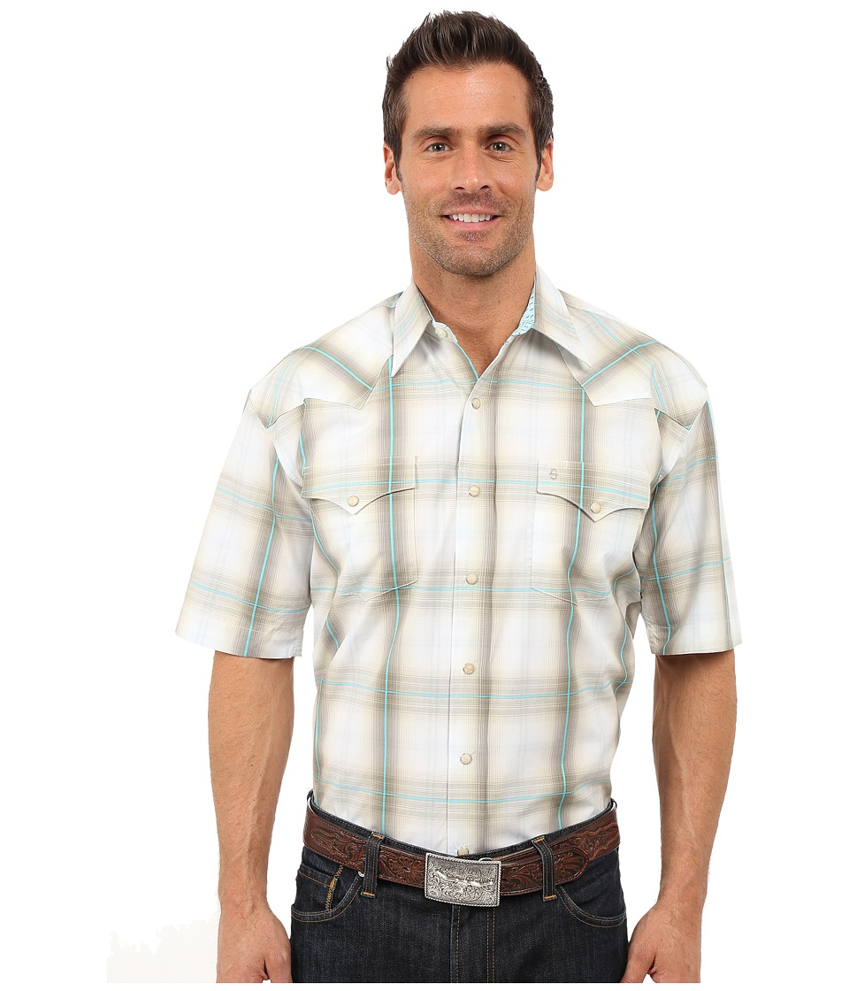 Stetson - Mossy Ombre Snap Front Short Sleeve Shirt (Brown) Men's Short Sleeve Button Up