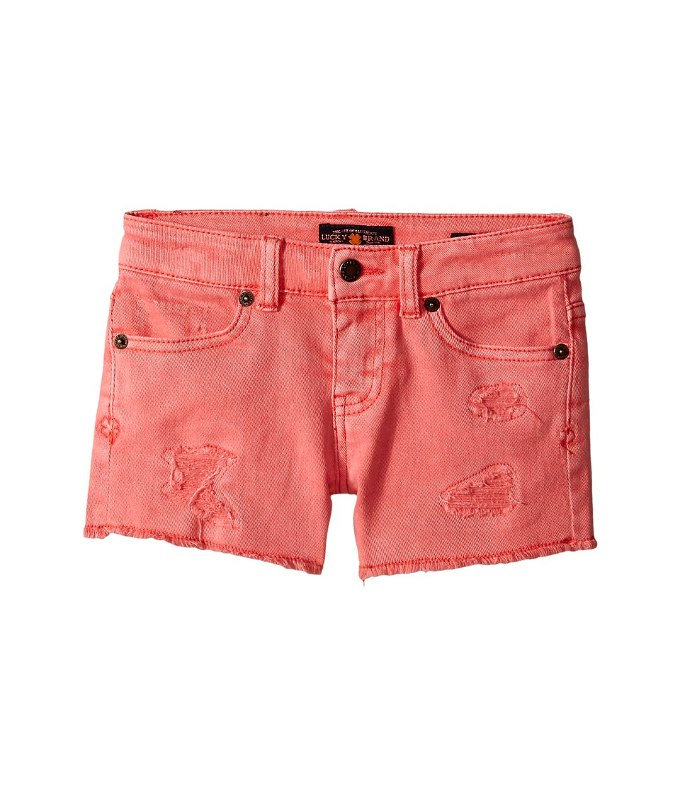 Lucky Brand Kids - Rip and Repair Reily Shorty Shorts (Little Kids) (Sugar Coral) Girl's Shorts