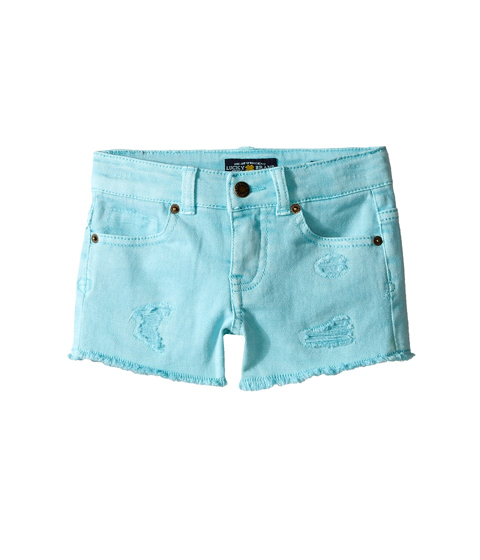 Lucky Brand Kids - Rip and Repair Reily Shorty Shorts (Little Kids) (Aqua Sky) Girl's Shorts