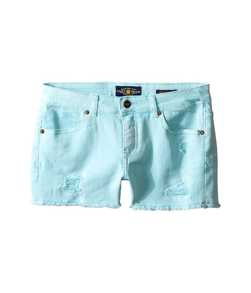Lucky Brand Kids - Rip and Repair Reily Shorty Shorts (Big Kids) (Aqua Sky) Girl's Shorts