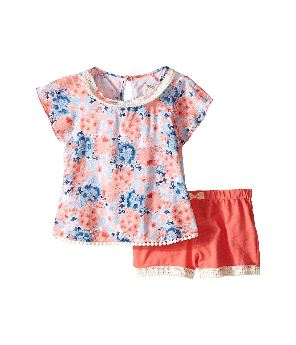 Lucky Brand Kids - Flora Printed Set (Toddler) (Sugar Coral) Girl's Active Sets