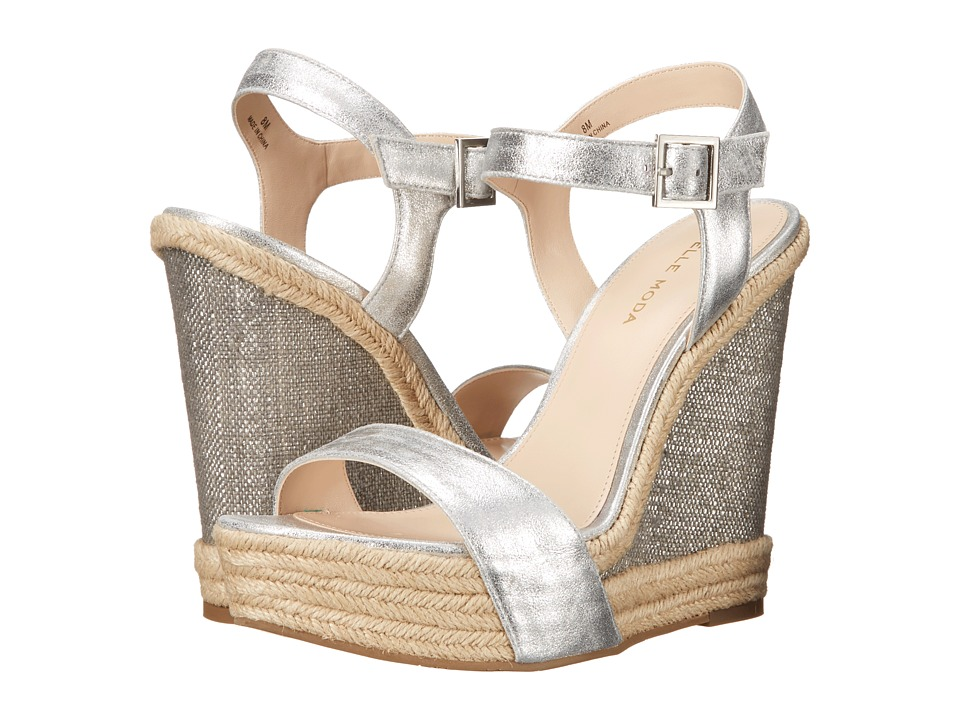Pelle Moda - Omer (Silver Metallic Kid Suede) Women's Wedge Shoes
