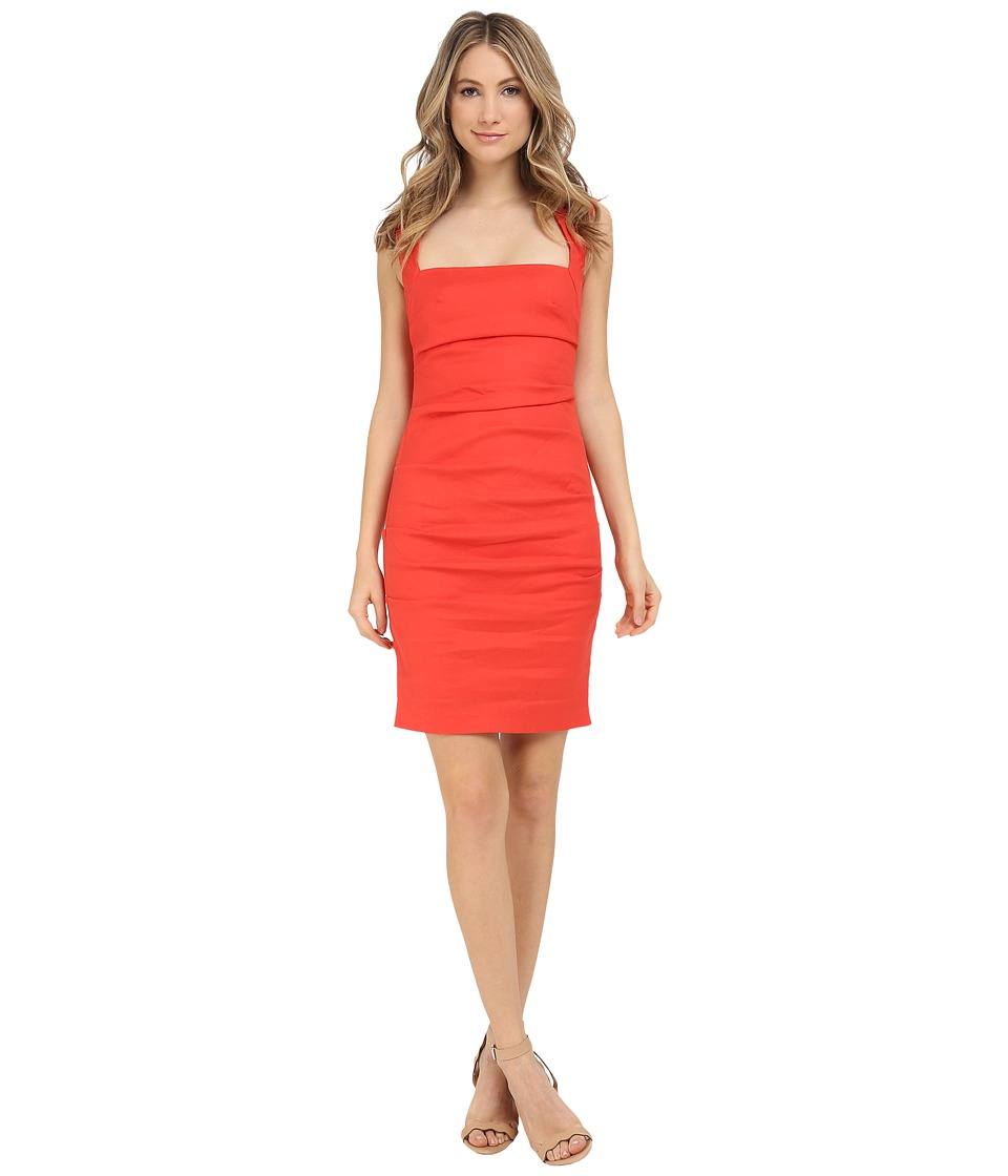 Nicole Miller - Stretch Linen Cutout Back Dress (Mandarin) Women's Dress