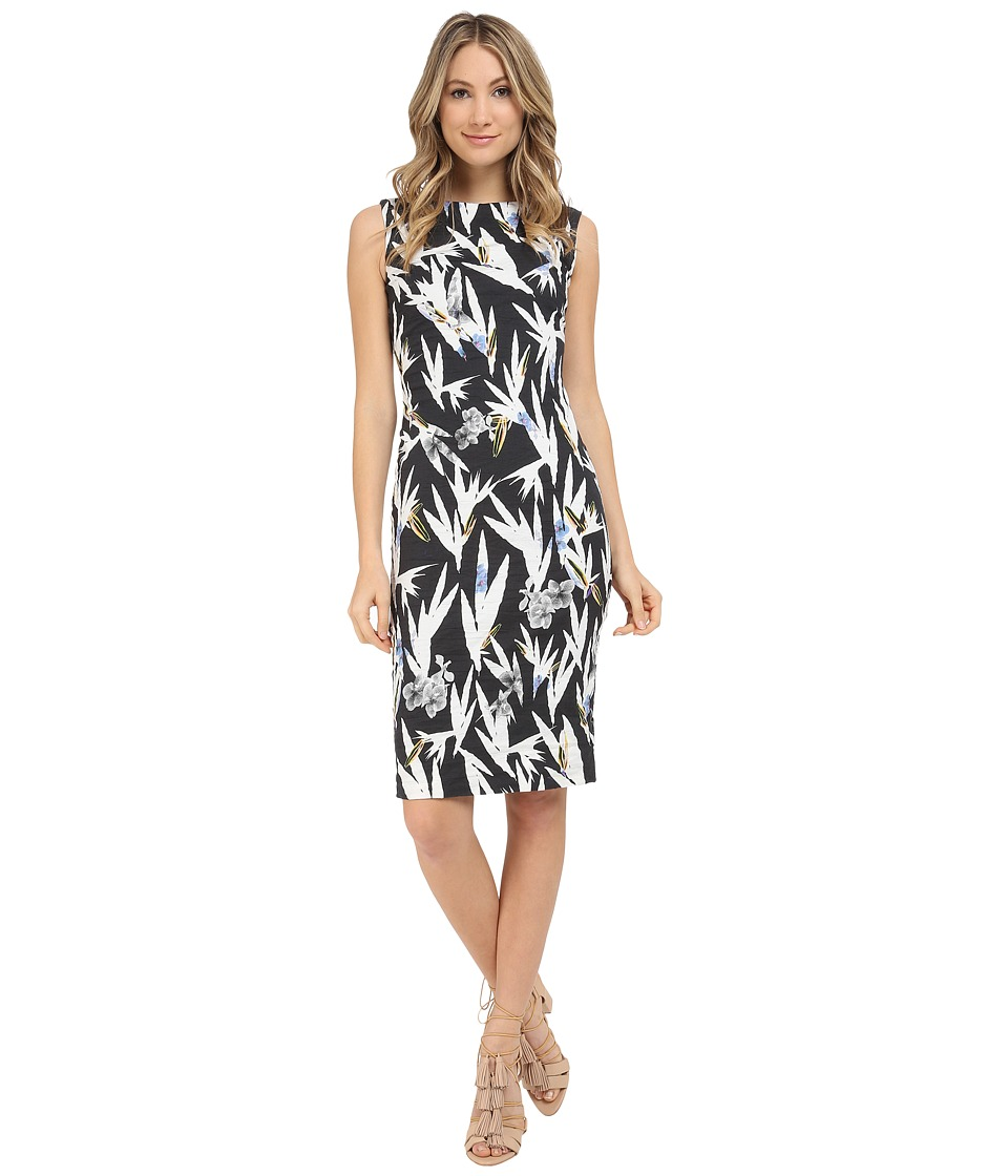 Nicole Miller Hummingbird Cotton Metal Sheath Dress (Black/Multi) Women