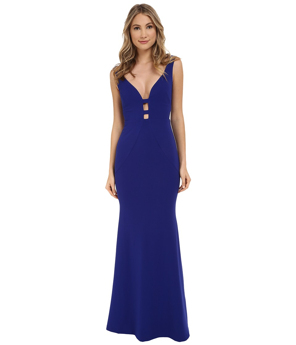 Nicole Miller Ezmerelda Cage Front Structured Gown (Royal) Women