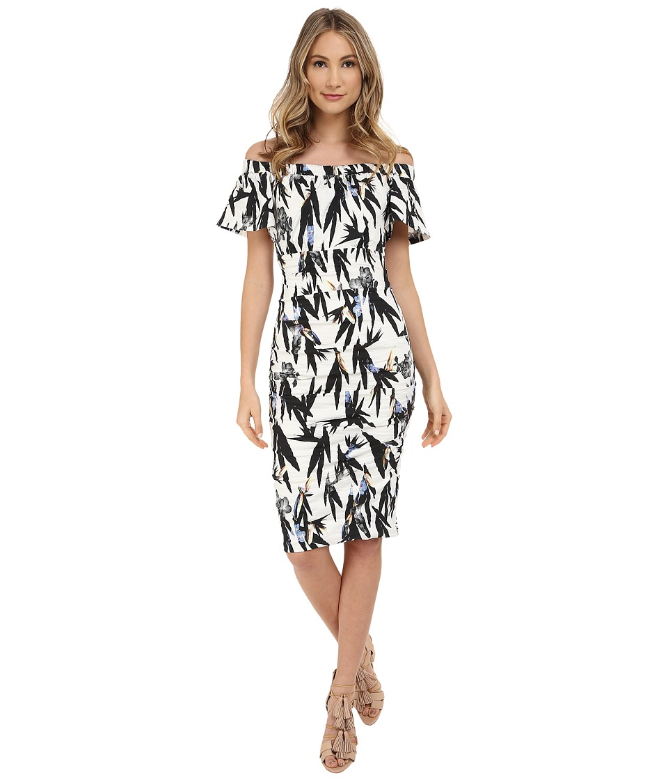 Nicole Miller Hummingbird Printed Natalia Off-Shoulder Dress (White/Multi) Women