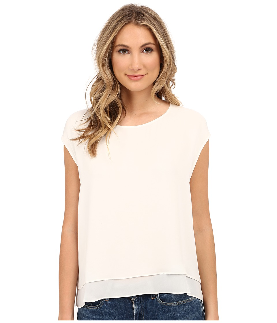 HEATHER - Silk Double Layer Top (White 1) Women's Long Sleeve Pullover