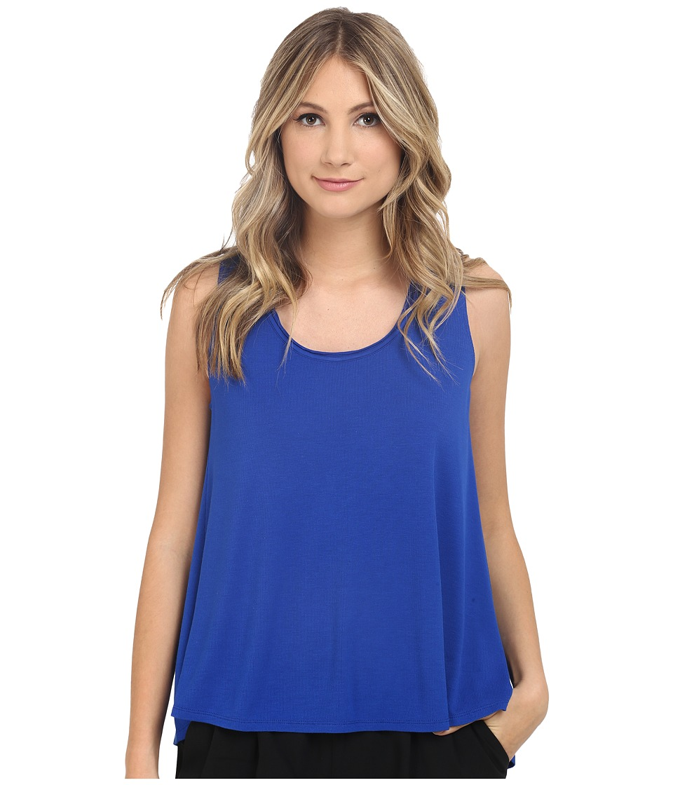 HEATHER - Scoop Neck Boxy Tee (Cobalt 1) Women's Short Sleeve Pullover