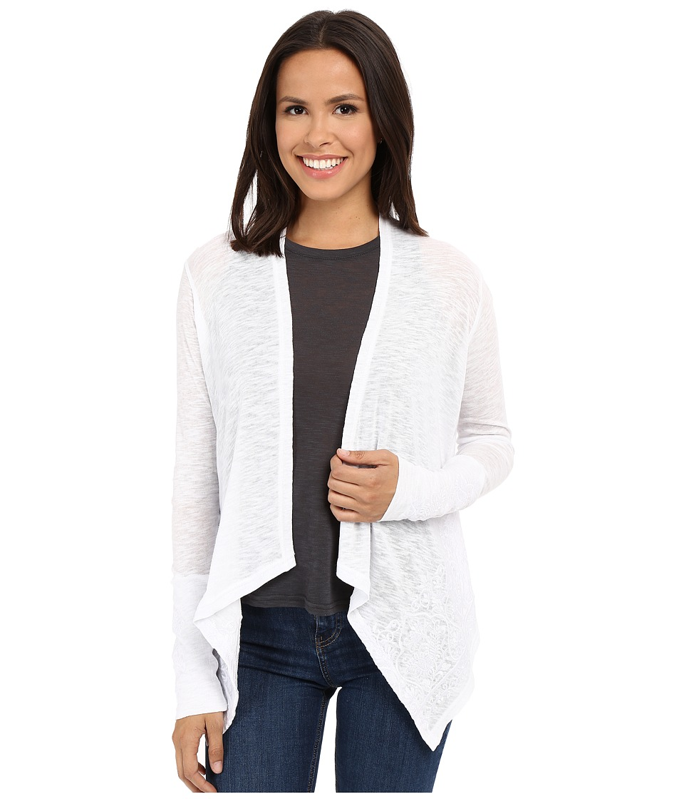 Stetson - White Slubby Burnout Long Sleeve Cardigan (White) Women's Blouse