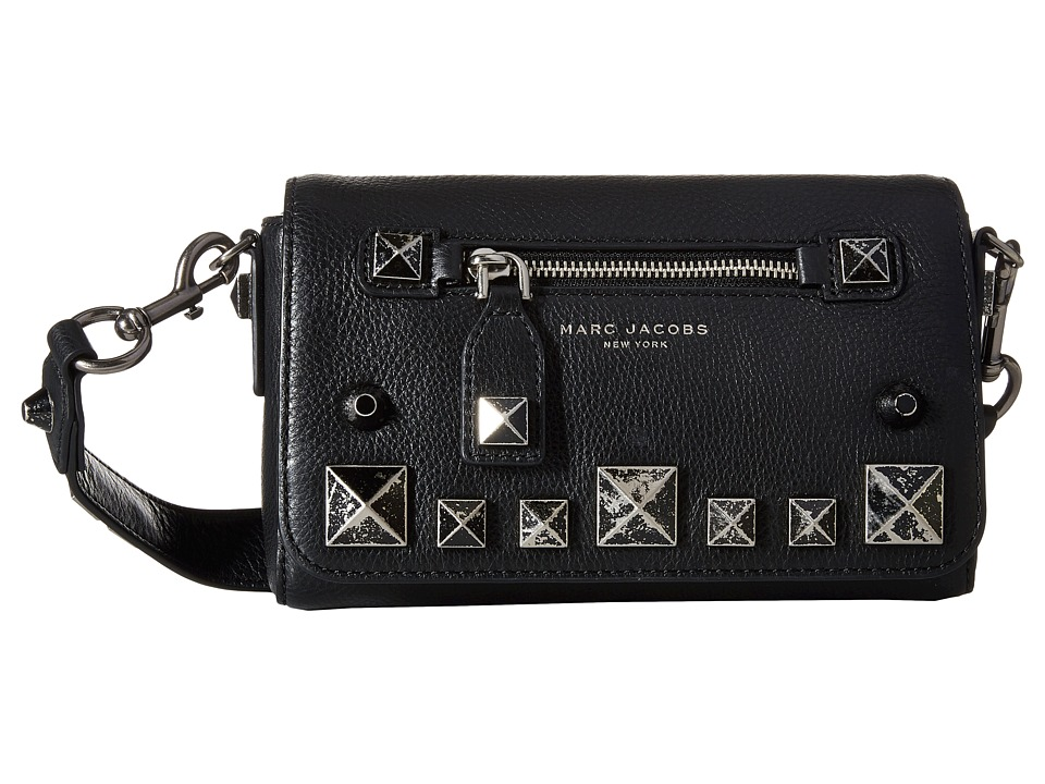 Marc Jacobs - Recruit Chipped Studs Shoulder Bag (Black) Shoulder Handbags