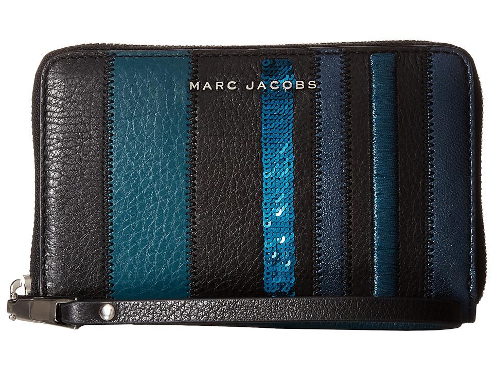 Marc Jacobs - Wingman Stripes Zip Phone Wristlet (Teal Multi) Wristlet Handbags