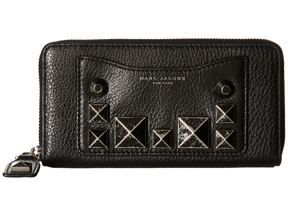 Marc Jacobs - Recruit Chipped Studs Standard Continental Wallet (Black) Continental Wallet