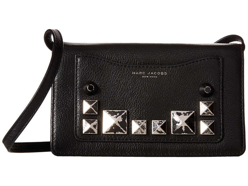 Marc Jacobs - Recruit Chipped Studs Wallet Leather Strap (Black) Wallet Handbags