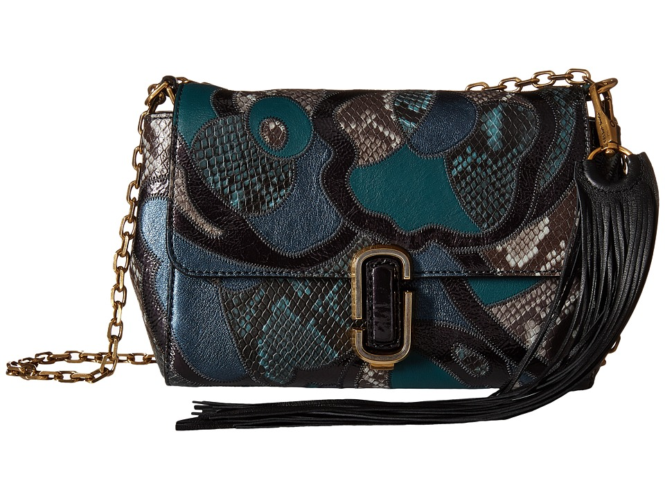 Marc Jacobs - J Marc Snake Patchwork Shoulder Bag (Teal Multi) Shoulder Handbags