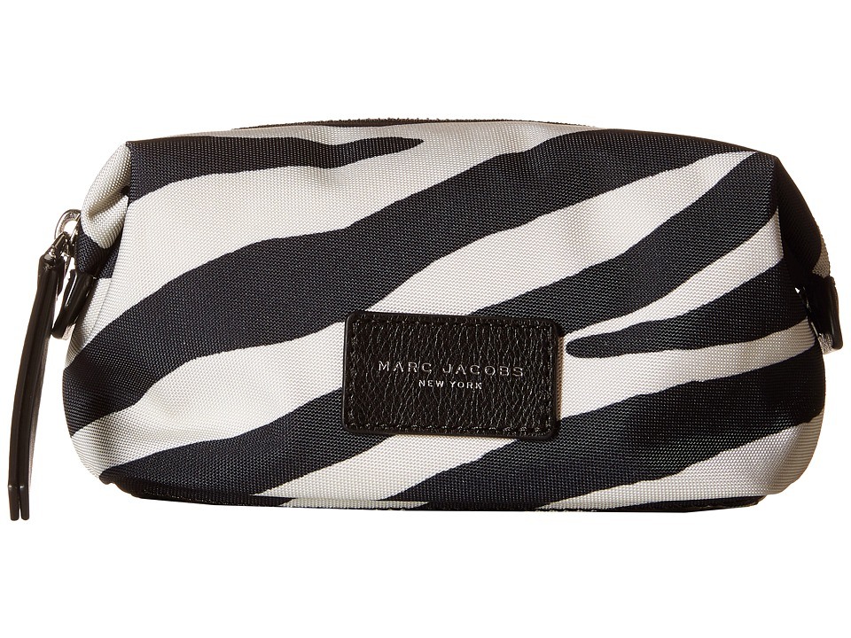 Marc Jacobs - Zebra Printed Biker Cosmetics Landscape Pouch (Off-White Multi) Travel Pouch